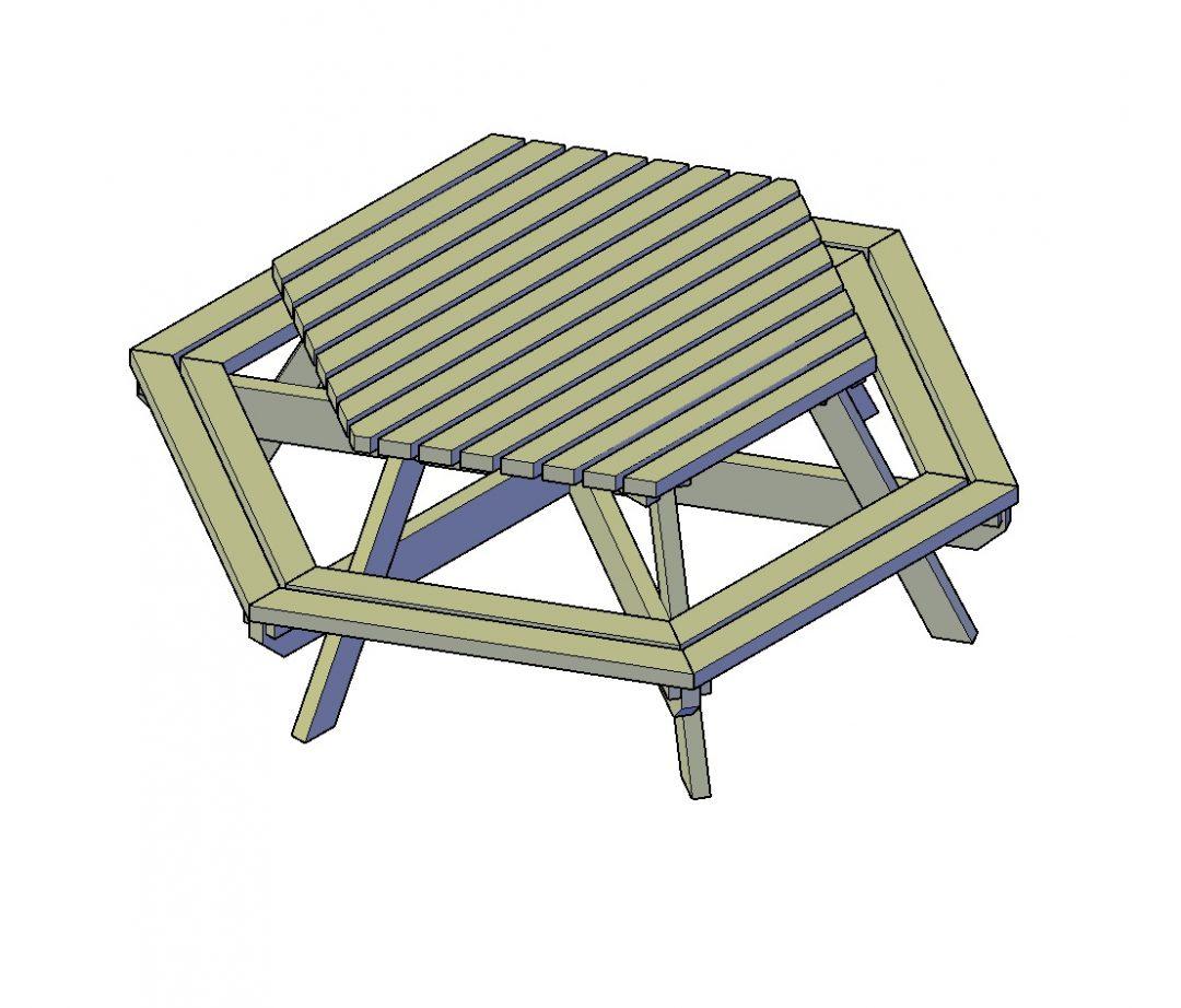 Picknicktafel-zeshoek uit het premiumpakket