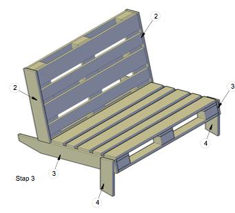 Loungebank van pallet ( pallet meubels )