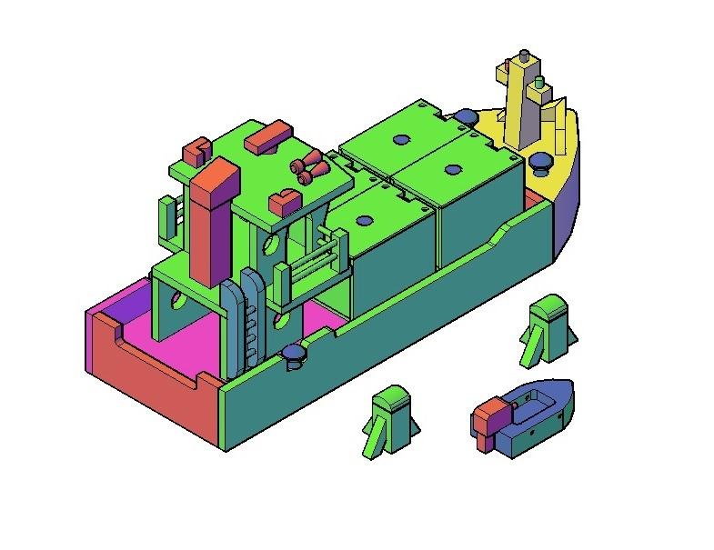 Houten speelgoed containerschip