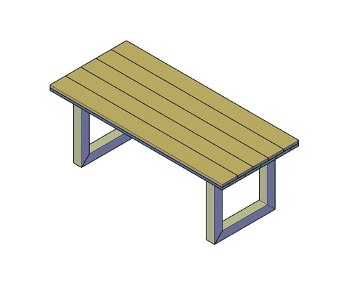 Rechthoekige Industriële tafel